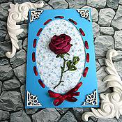 Свадебный салон handmade. Livemaster - original item Greeting card turquoise rose and pearls. Handmade.