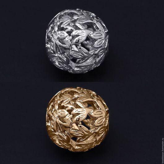 Для украшений ручной работы. Ярмарка Мастеров - ручная работа. Купить Бусина 14 мм листья рифленые. Handmade. Серебряный