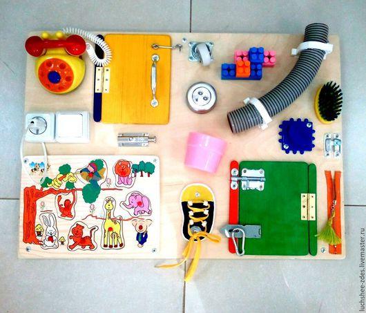 Развивающие игрушки ручной работы. Ярмарка Мастеров - ручная работа. Купить Бизиборд. Handmade. Комбинированный, бизиборд, для детей, фанера