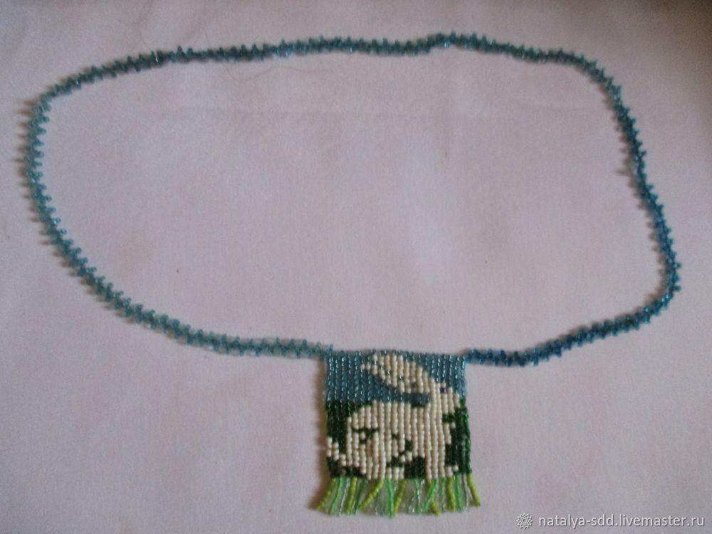 Колье  из бисера для девочки подростка с кроликом, Подвеска, Саратов,  Фото №1