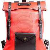 Backpacks handmade. Livemaster - original item Leather Vogue backpack red. Handmade.