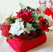 Для дома и интерьера ручной работы. Ярмарка Мастеров - ручная работа Композиция из цветов для интерьера Розы. Handmade.