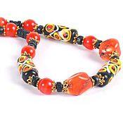 """Украшения ручной работы. Ярмарка Мастеров - ручная работа Бусы """"Полдень на острове Ява"""" лампворк, оранжевый коралл. Handmade."""