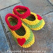 """Обувь ручной работы. Ярмарка Мастеров - ручная работа Тапочки """"Сердечки для дочки"""". Handmade."""