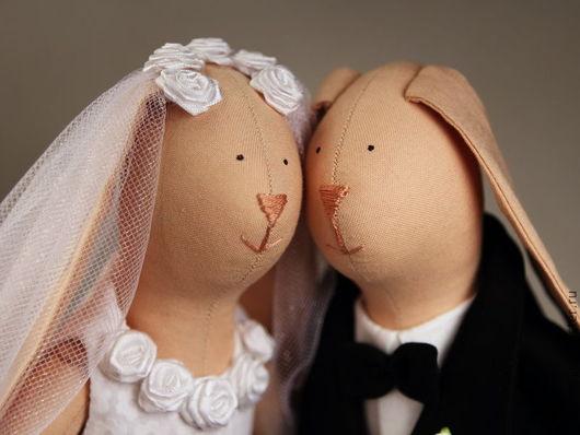 Куклы Тильды ручной работы. Ярмарка Мастеров - ручная работа. Купить Тильда Свадебные зайки. Handmade. Тильда зайцы, семья