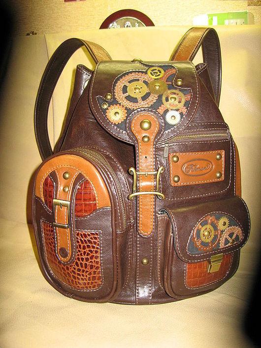 """Рюкзаки ручной работы. Ярмарка Мастеров - ручная работа. Купить Рюкзак """"МЕХАНИКА"""". Handmade. Коричневый, рюкзак кожаный, ручная работа"""