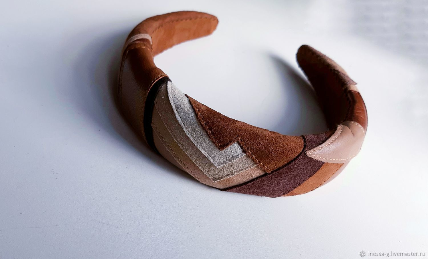 Natural suede and leather hair band/Hoop, Headband, Moscow,  Фото №1