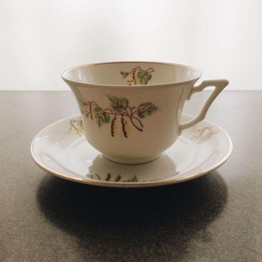 """Винтажная посуда. Ярмарка Мастеров - ручная работа. Купить Чайная пара """"Березки"""", Рига, Латвия, 1950-е, фарфор, ручная роспись. Handmade."""