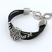 Украшения handmade. Livemaster - original item Owl bracelet with leather cords. Handmade.