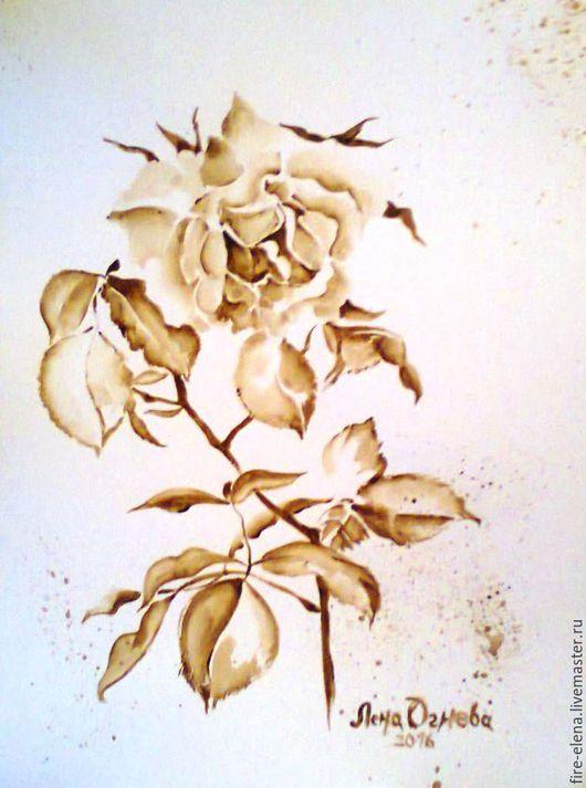 Картины цветов ручной работы. Ярмарка Мастеров - ручная работа. Купить Кофейная картина - диптих - Вчерашняя роза. Handmade. Коричневый