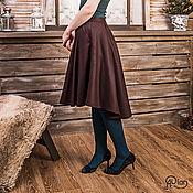 Одежда ручной работы. Ярмарка Мастеров - ручная работа Теплая юбка из шерсти (коричнево-фиолетовая). Handmade.