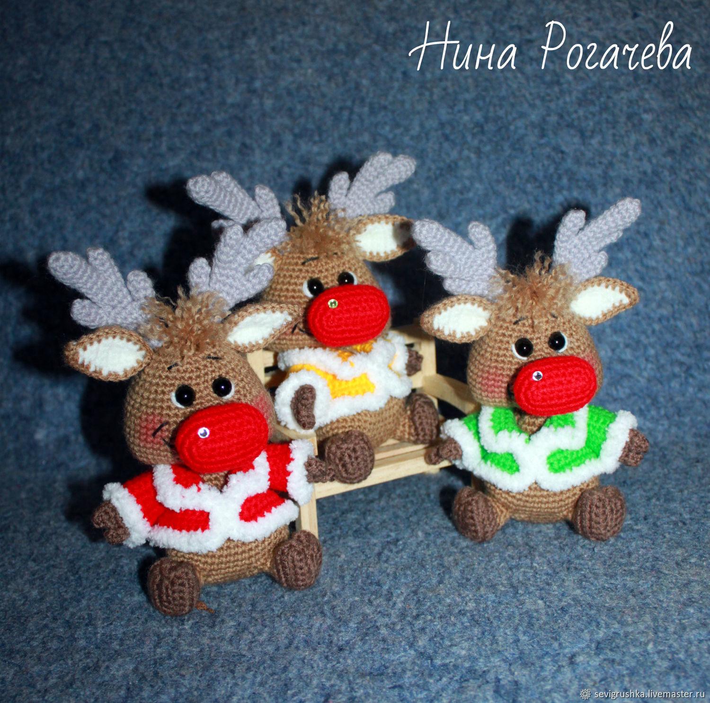 Christmas deer. Deer knitted, Stuffed Toys, Kandalaksha,  Фото №1