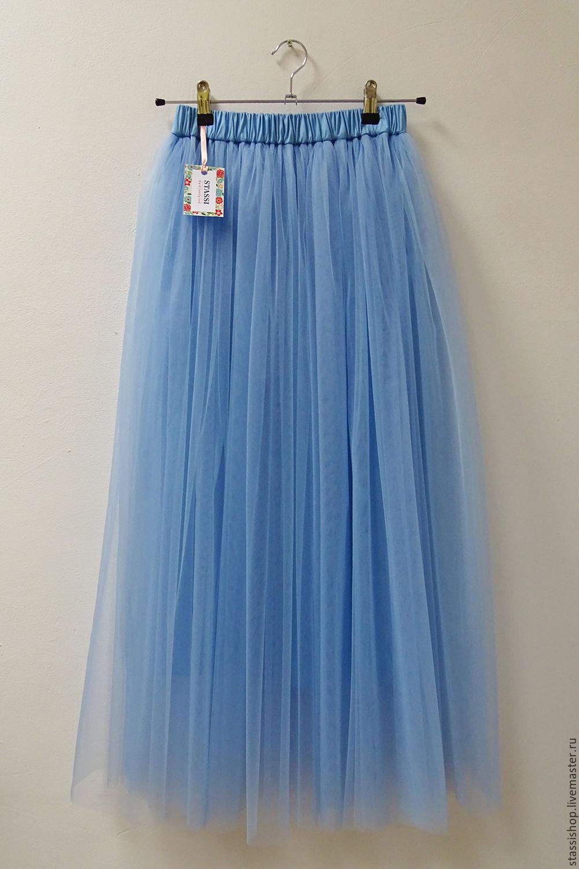 Фатиновая голубая юбка