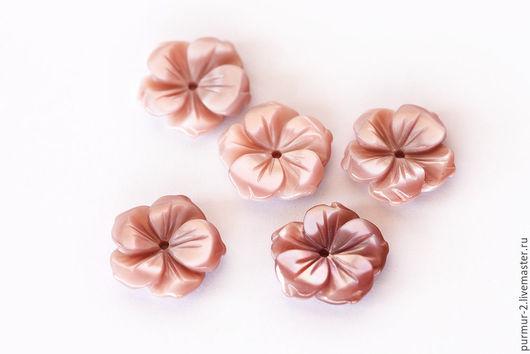 Для украшений ручной работы. Ярмарка Мастеров - ручная работа. Купить 1605_1_ Перламутровые бусины 13 х 2.5 мм, Бусины цветы. Handmade.