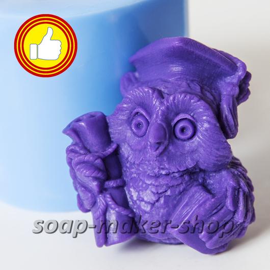 Материалы для косметики ручной работы. Ярмарка Мастеров - ручная работа. Купить Силиконовая форма для мыла «Мудрая сова 2 3D». Handmade.