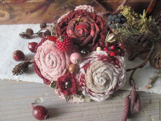 Броши ручной работы. Ярмарка Мастеров - ручная работа. Купить Сказание о цвете.... Handmade. Бордовый, украшения с яшмой, шерстяная пряжа