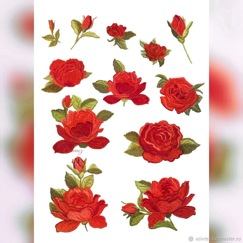 Вышитая аппликация красные Розы. Нашивка для одежды. Патч, Аппликации, Москва,  Фото №1