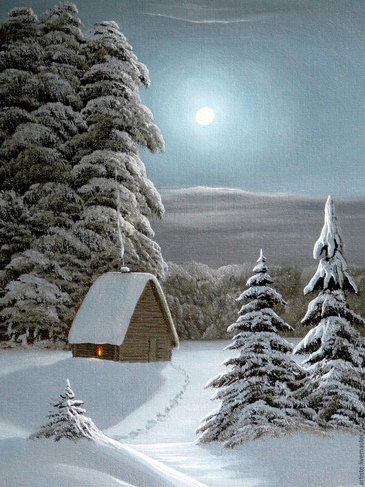 Пейзаж ручной работы. Ярмарка Мастеров - ручная работа. Купить Лунная ночь. Handmade. Пейзаж, лунный свет, картина в подарок