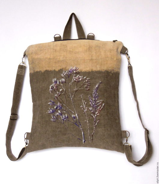 рюкзак-сумка вощёный лён, купить льняной рюкзак, вощёный лён