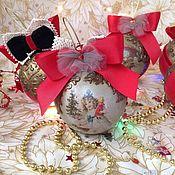 """Игрушки ручной работы. Ярмарка Мастеров - ручная работа Набор ёлочных шаров """"Старое золото с красным"""". Handmade."""