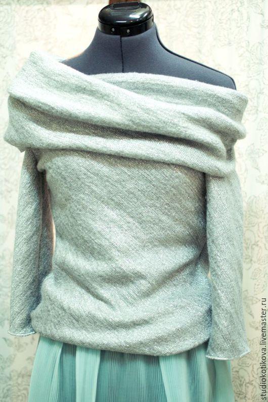 Кофты и свитера ручной работы. Ярмарка Мастеров - ручная работа. Купить Мерцающий свитер из шерсти. Handmade. Серебряный, нежный, лавандовый