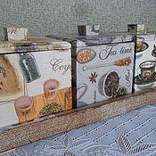 """Для дома и интерьера ручной работы. Ярмарка Мастеров - ручная работа набор для кухни """"Попьем чайку?"""". Handmade."""