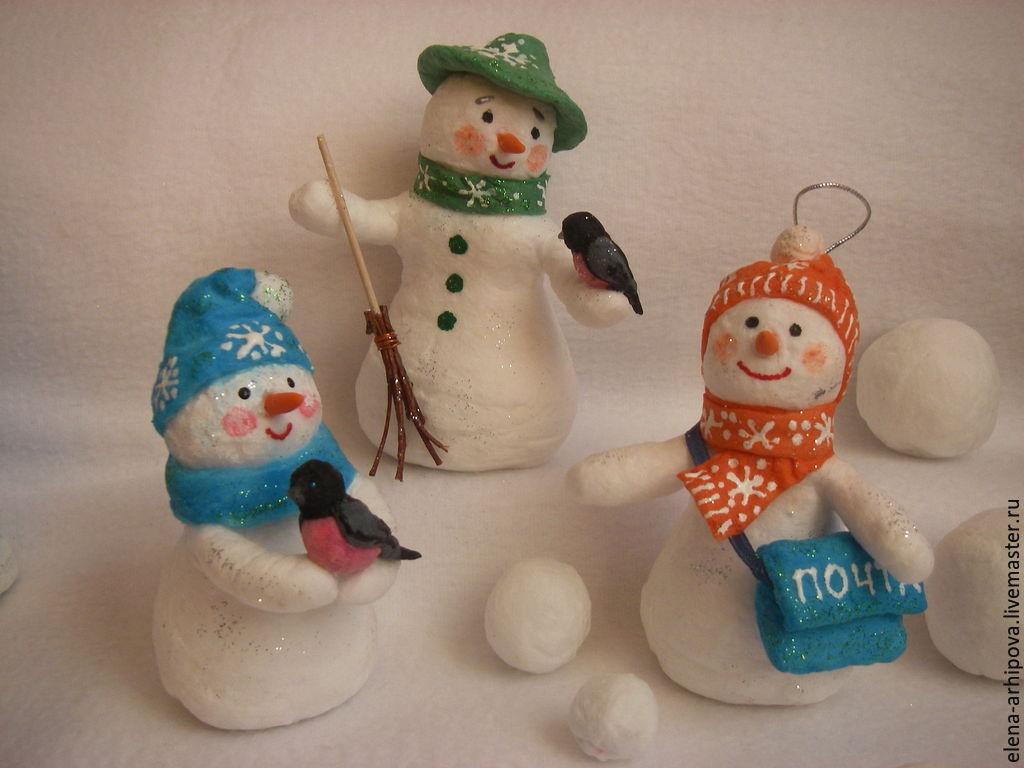 Игрушка снеговик из ваты
