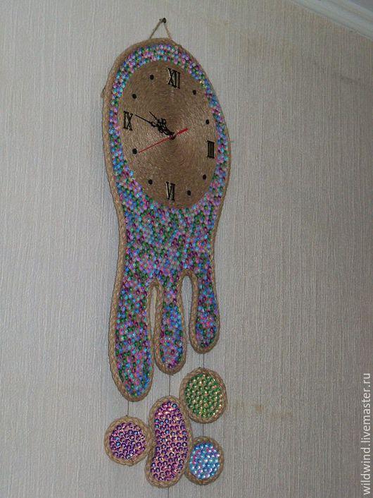 """Часы для дома ручной работы. Ярмарка Мастеров - ручная работа. Купить Часы настенные """"Медуза"""". Handmade. Часы настенные, пайетки"""