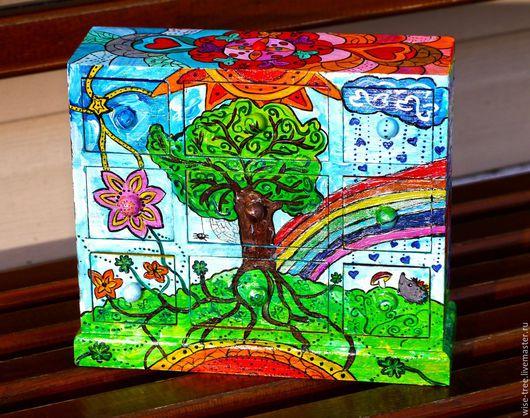 """Мини-комоды ручной работы. Ярмарка Мастеров - ручная работа. Купить Мини-комод """"Радужное счастье"""" (дерево, роспись). Handmade."""