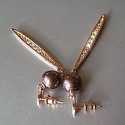 """Украшения ручной работы. Ярмарка Мастеров - ручная работа """"Оу!"""" серьги: шоколадный жемчуг, цирконы, розовое наполненное золото. Handmade."""