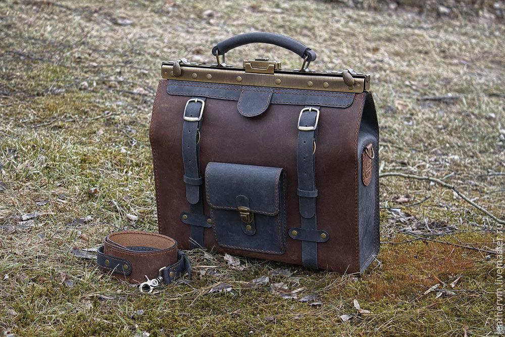 """""""Брокер"""" - портфель кожаный, двухцветный, ручной работы, Портфель, Санкт-Петербург,  Фото №1"""
