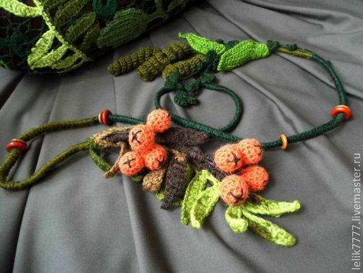 """Колье, бусы ручной работы. Ярмарка Мастеров - ручная работа. Купить Колье-пояс """" Рябиновая осень"""". Handmade. Зеленый"""