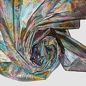 """Аксессуары ручной работы. Ярмарка Мастеров - ручная работа Шелковый платок """"Теплый вечер"""" с росписью батик на натуральном шелке. Handmade."""