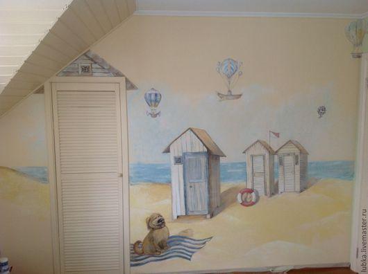 Декор поверхностей ручной работы. Ярмарка Мастеров - ручная работа. Купить роспись стен в детской - пляж. Handmade. Роспись стен