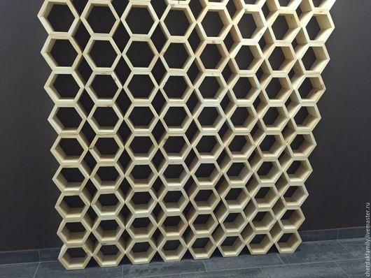 Мебель ручной работы. Ярмарка Мастеров - ручная работа. Купить Деревянный стеллаж-соты. Handmade. Бежевый, соты, полка из дерева