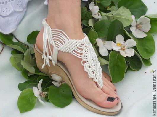 """Обувь ручной работы. Ярмарка Мастеров - ручная работа. Купить Дизайнерские уникальные женские босоножки макраме Модель """"Катерина"""". Handmade."""