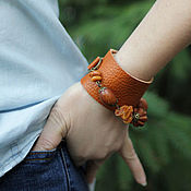 Украшения handmade. Livemaster - original item Leather bracelet with natural stones and wood jita. Handmade.