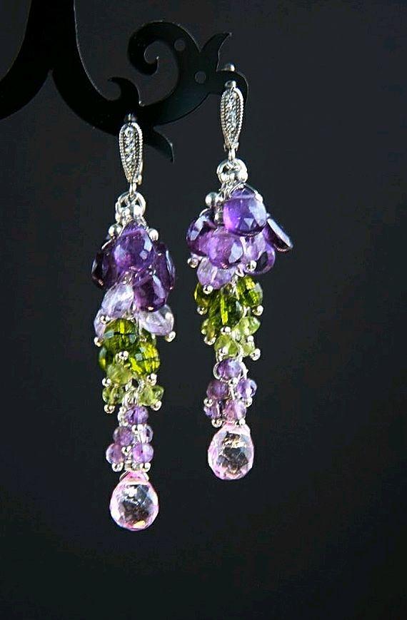 Silver earrings, amethyst, chrysolite, quartz, 925 silver, Earrings, Moscow,  Фото №1