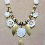 Украшения handmade. Livemaster - original item Jewelry set made of pearls and mother-of-pearl a Gentle surf.. Handmade.