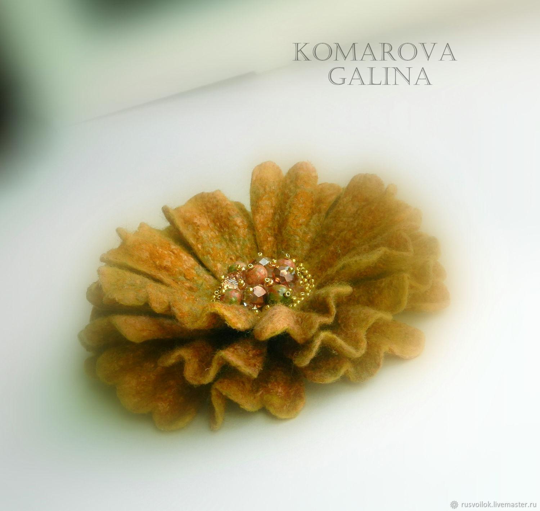 Flower brooch felted 'Redhead fantasy', Brooches, Moscow,  Фото №1