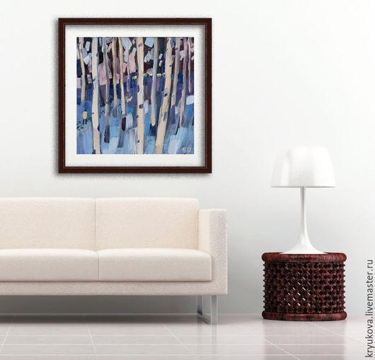Анна Крюкова Авторская живопись Картина в холодных голубых тонах Купить картину пейзаж на холсте Голубой розовый белый синий фиолетовый