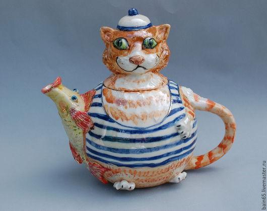 """Чайники, кофейники ручной работы. Ярмарка Мастеров - ручная работа. Купить Чайник """"Рыжий кот и золотая рыбка"""". Handmade."""