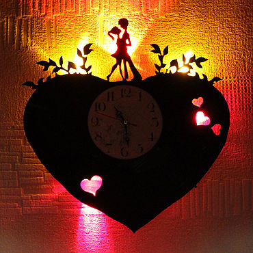 For home and interior handmade. Livemaster - original item Wall clock with backlight from the album DIL tera aashiq. Handmade.