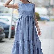 Одежда ручной работы. Ярмарка Мастеров - ручная работа Длинное платье, Платье из хлопка, Летнее платье, Платье с оборками. Handmade.