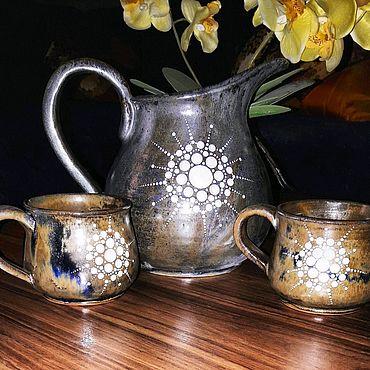 Посуда ручной работы. Ярмарка Мастеров - ручная работа Кувшин с кружками Млечный Путь.. Handmade.