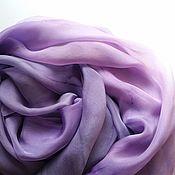 Аксессуары ручной работы. Ярмарка Мастеров - ручная работа Палантин фиолетовый градиент шелковый батик. Handmade.