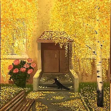 Картины и панно ручной работы. Ярмарка Мастеров - ручная работа Осень у подъезда. Handmade.
