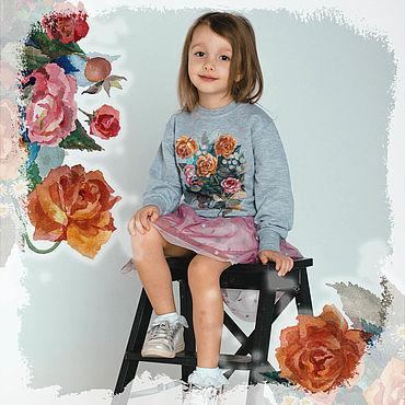Одежда ручной работы. Ярмарка Мастеров - ручная работа Детский свитшот с авторским принтом. Handmade.