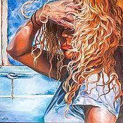 """Картины ручной работы. Ярмарка Мастеров - ручная работа Огромная, интерьерная Картина маслом """"Ветер в волосах"""". Handmade."""