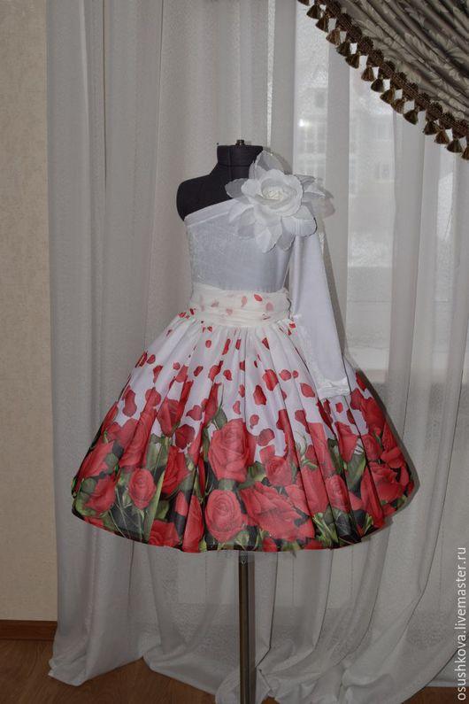 """Одежда для девочек, ручной работы. Ярмарка Мастеров - ручная работа. Купить Комплект """"Красные розы"""". Handmade. Ярко-красный"""